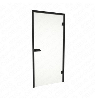 Drzwi szklane LOFT otwierane bez ramowe + futryna aluminiowa czarna - skrzydło zamknięte (na wymiar)
