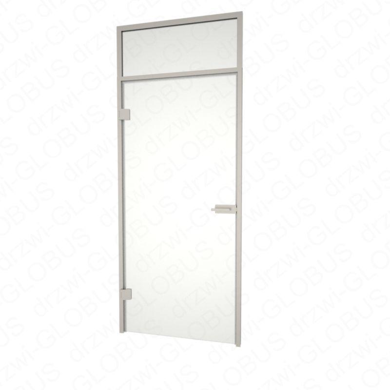 Drzwi szklane otwierane + naświetle górne INOX zamknięte (na wymiar)