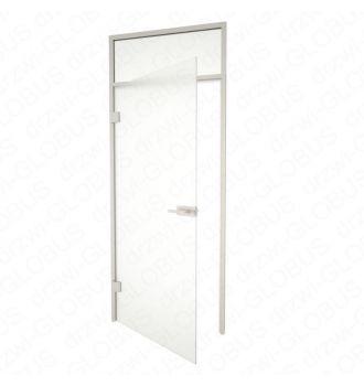 Drzwi szklane otwierane + naświetle górne INOX otwarte (na wymiar)