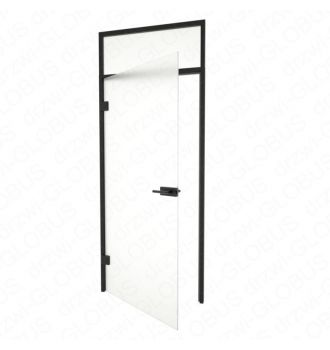 Drzwi szklane otwierane + naświetle górne CZARNE otwarte (na wymiar)