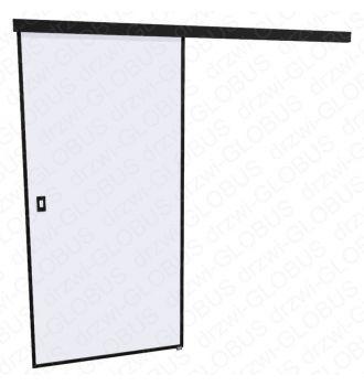 Drzwi szklane przesuwne LOFT 1 v1 w czarnej ramie