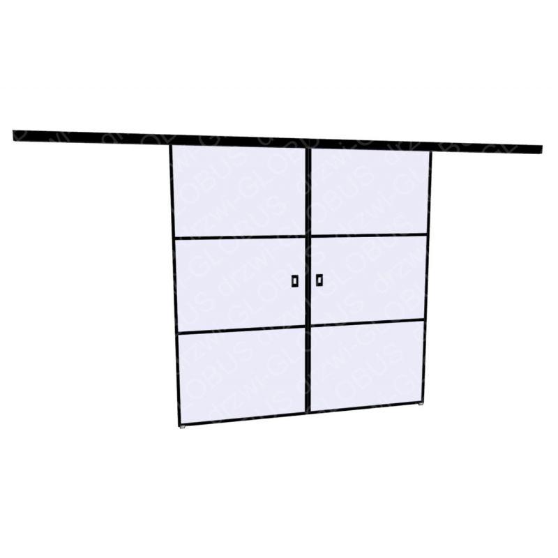 Drzwi szklane przesuwne LOFT 1 v3 dwuskrzydłowe