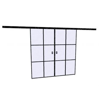 Drzwi szklane przesuwne LOFT 1 v4 dwuskrzydłowe