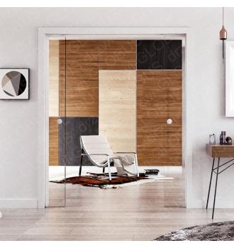 Drzwi szklane przesuwne w KASECIE standard (dwuskrzydłowe)