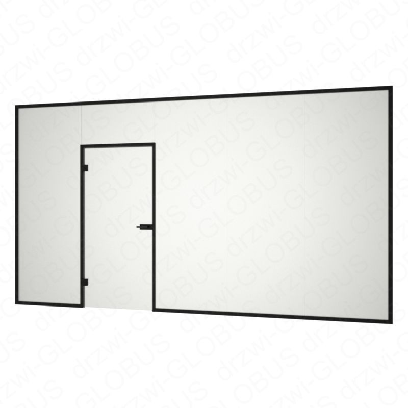 Zabudowa szklana z drzwiami otwieranymi w futrynie (na wymiar)