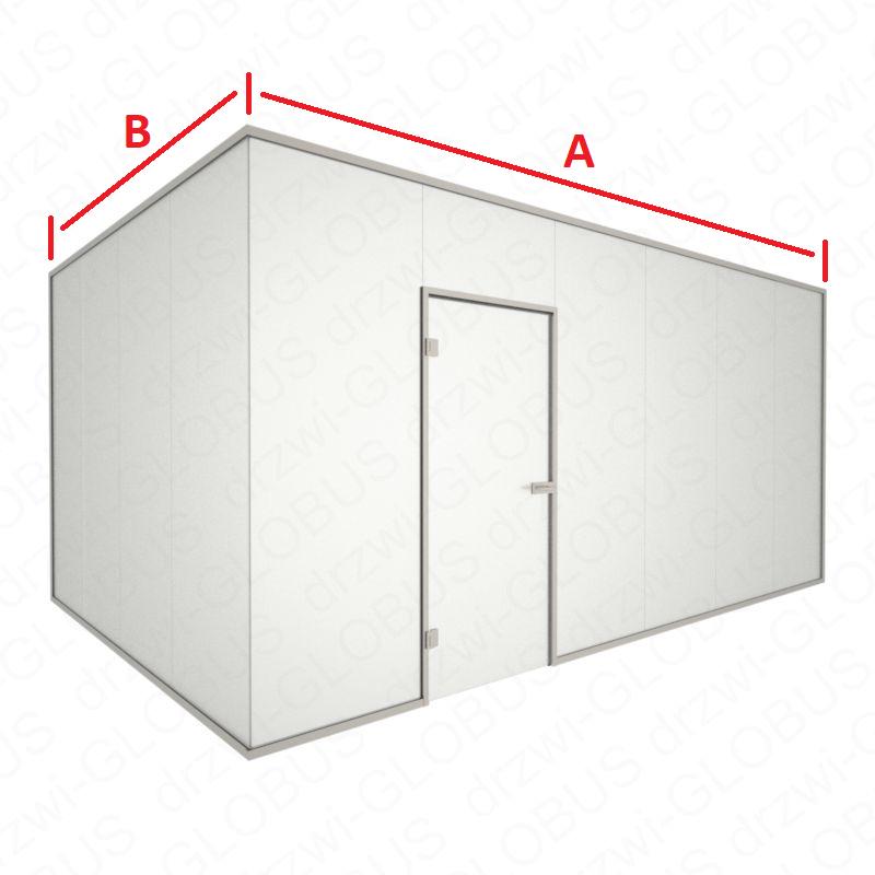 Zabudowa cało szklana NAROŻNA z drzwiami otwieranymi w futrynie kolor INOX (na wymiar)