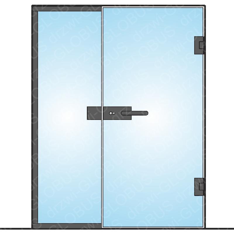 Drzwi szklane otwierane z częścią stałą LOFT mocowane do ściany (na wymiar)