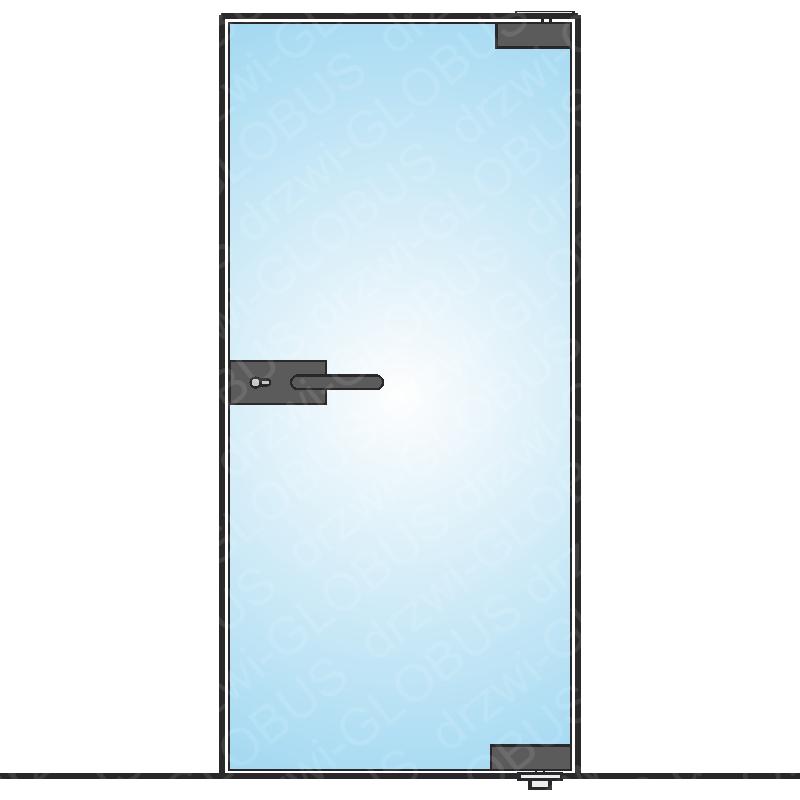 Drzwi szklane bez ościeżnicy LOFT - mocowane GÓRA DÓŁ (na wymiar)