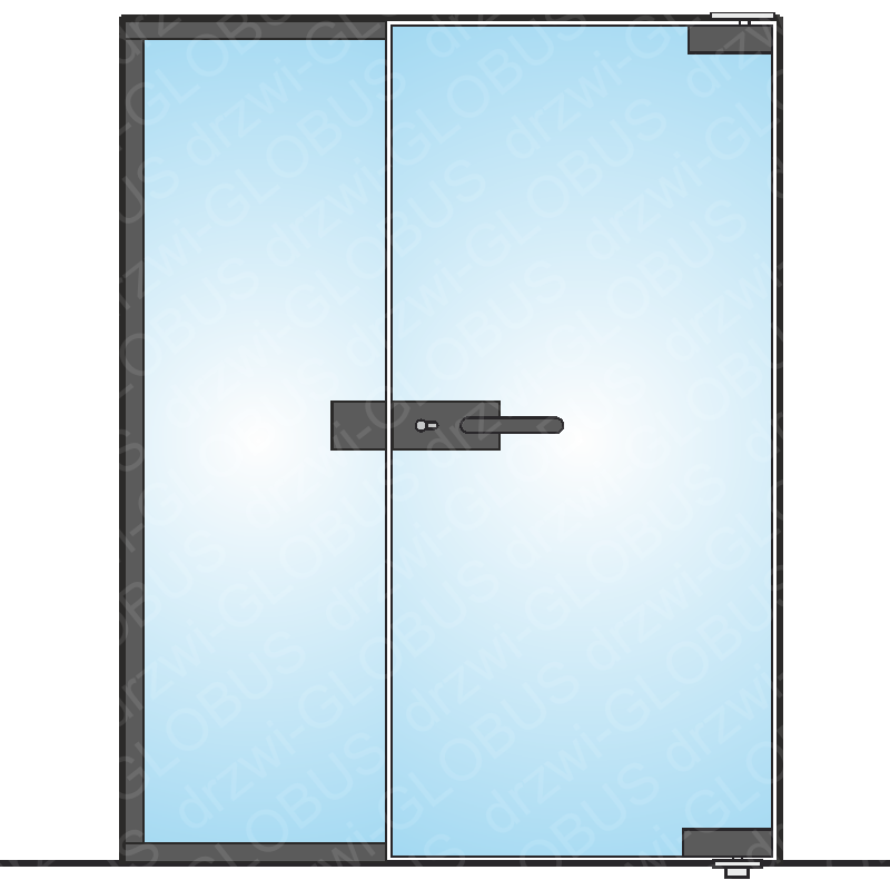 Drzwi szklane otwierane z częścią stałą LOFT mocowane GÓRA/DÓŁ (na wymiar)