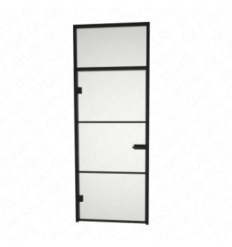 Drzwi szklane otwierane LOFT + naświetle górne (na wymiar)
