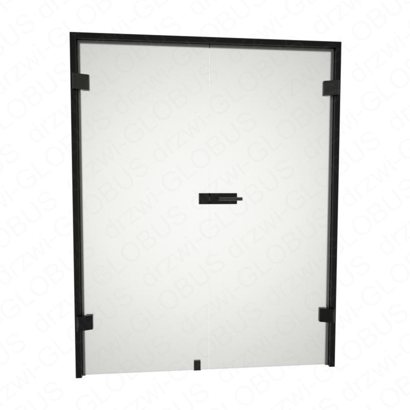 Drzwi szklane otwierane dwuskrzydłowe LOFT bez ramowe + czarna futryna (na wymiar)