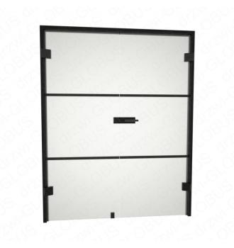 Drzwi szklane otwierane dwuskrzydłowe LOFT (szpros poziomy) bez ramowe + czarna futryna (na wymiar)