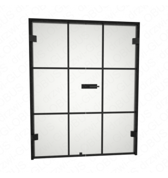 Drzwi szklane otwierane dwuskrzydłowe LOFT (szpros poziomy i pionowy) bez ramowe + czarna futryna (na wymiar)