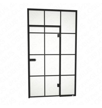 Drzwi szklane otwierane LOFT + naświetla + szprosy poziomy i pionowy (na wymiar)