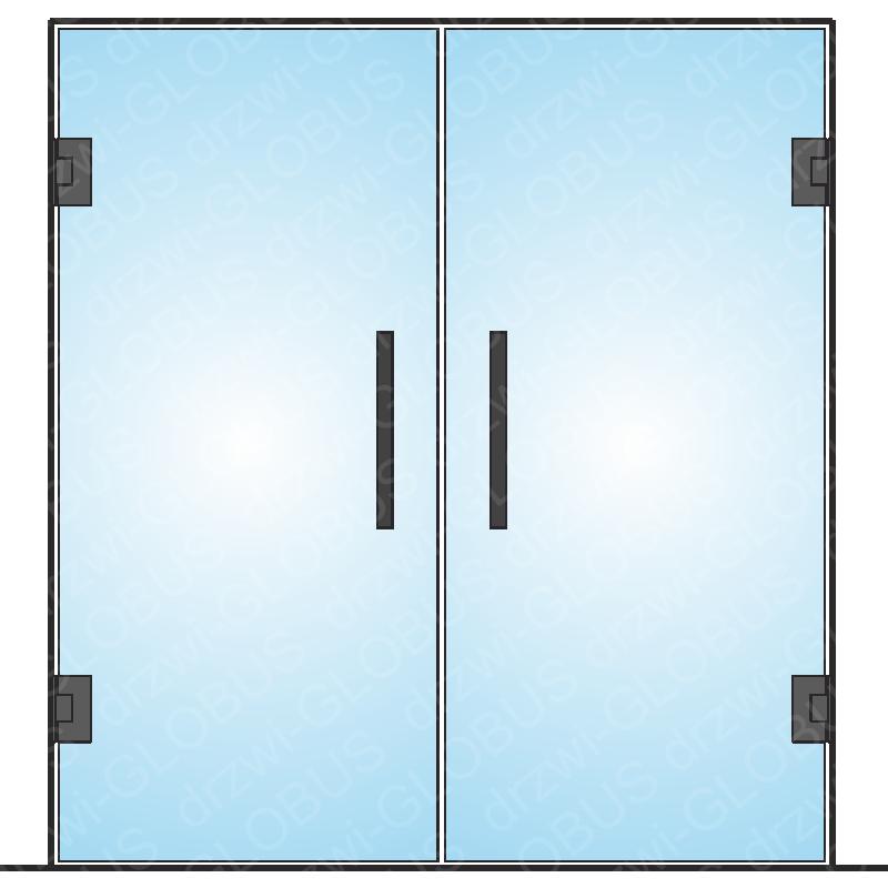 Drzwi szklane dwuskrzydłowe wahadłowe LOFT mocowane do ściany (na wymiar)