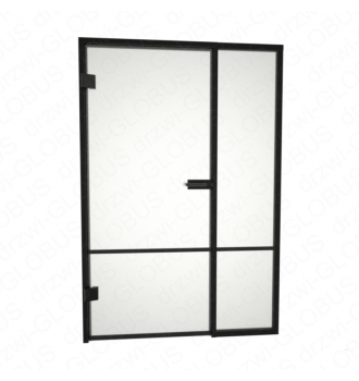 Drzwi szklane otwierane LOFT + naświetle stałe + szpros poziomy i pionowy 2 (na wymiar)