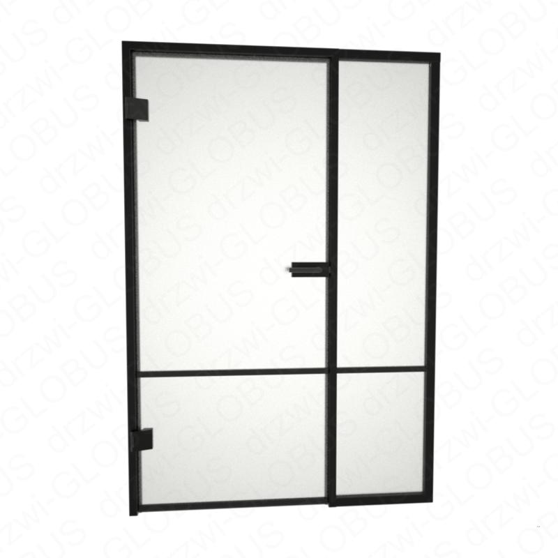 Drzwi szklane otwierane LOFT + stałe doświetle + szprosy poziomy i pionowy (na wymiar)