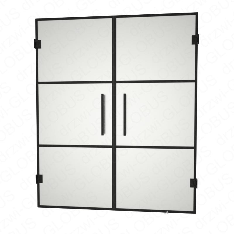 Drzwi szklane dwuskrzydłowe wahadłowe LOFT (szprosy poziome) drzwi mocowane do ściany (na wymiar)