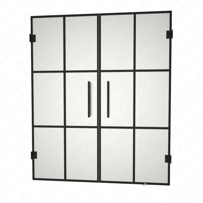 Drzwi szklane dwuskrzydłowe wahadłowe LOFT (szprosy poziome oraz pionowe) drzwi mocowane do ściany (na wymiar)