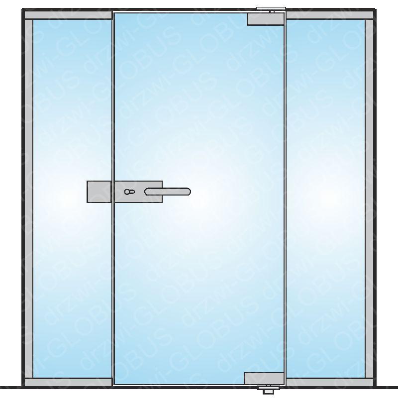 Drzwi szklane otwierane jednoskrzydłowe mocowane GÓRA/DÓŁ + dwa doświetla (na wymiar)