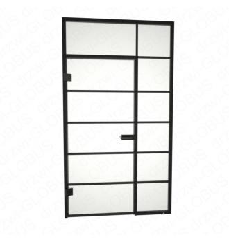 Drzwi otwierane jednoskrzydłowe + świetliki boczy i górny + szprosy poziome (na wymiar)