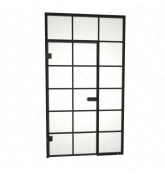 Drzwi otwierane jednoskrzydłowe + świetliki boczy i górny + szprosy poziome i pionowe (na wymiar)