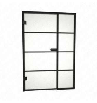 Drzwi szklane otwierane LOFT + stałe doświetle + szprosy poziome (na wymiar)
