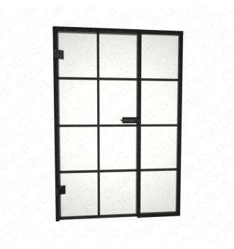 Drzwi szklane otwierane LOFT + stałe doświetle + szprosy poziome i pionowy (na wymiar)