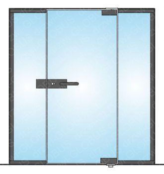 Drzwi szklane otwierane jednoskrzydłowe LOFT mocowane GÓRA/DÓŁ + dwa doświetla (na wymiar)