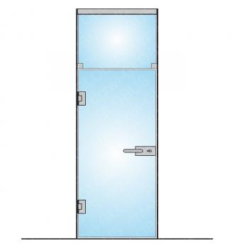 Drzwi szklane bez ościeżnicy - mocowane DO ŚCIANY + naświetle górne (na wymiar)