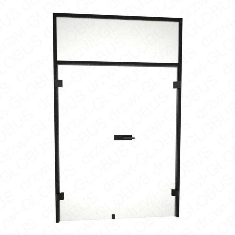 Drzwi szklane otwierane dwuskrzydłowe LOFT bez ramowe + czarna futryna + naświetle (na wymiar)