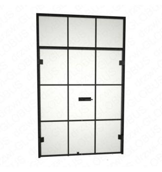 Drzwi szklane otwierane dwuskrzydłowe LOFT bez ramowe + czarna futryna + naświetle + szprosy (na wymiar)
