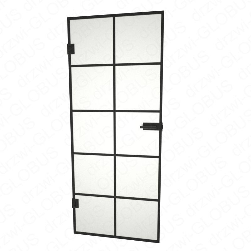 Drzwi szklane otwierane LOFT + szprosy w ramce - bez ościeżnicowe (na wymiar)