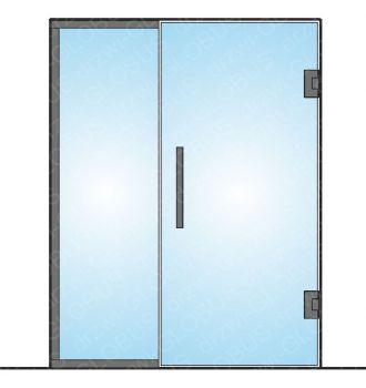 Drzwi szklane wahadłowe mocowane do ściany LOFT + doświetle (na wymiar)