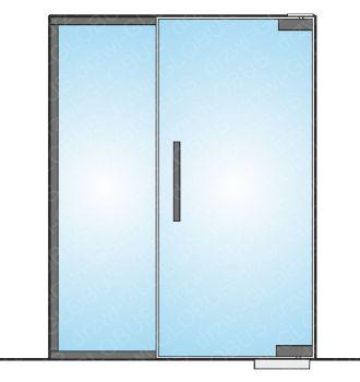 Drzwi szklane wahadłowe mocowane GÓRA/DÓŁ + doświetle boczne (na wymiar)