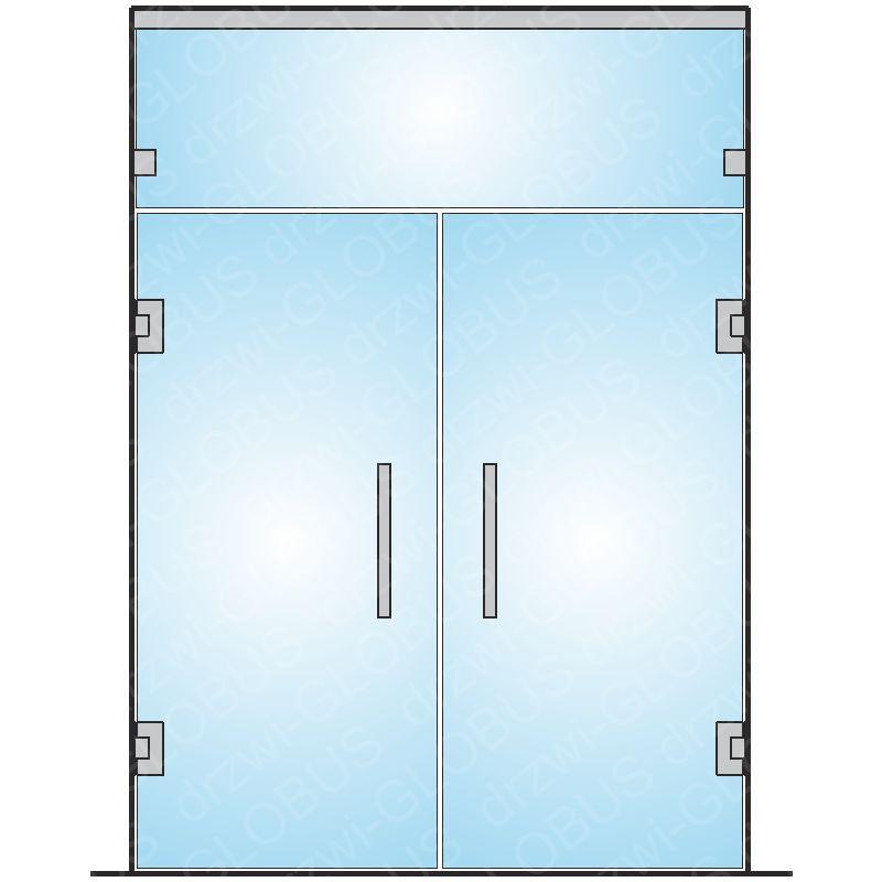Drzwi szklane dwuskrzydłowe wahadłowe mocowane do ściany + naświetle górne (na wymiar)