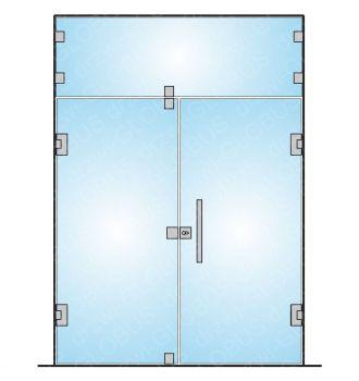 Drzwi wahadłowe dwuskrzydłowe + naświetle (na wymiar)