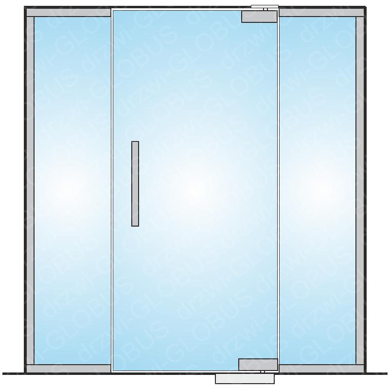 Drzwi szklane wahadłowe mocowane GÓRA/DÓŁ + doświetla boczne (na wymiar)