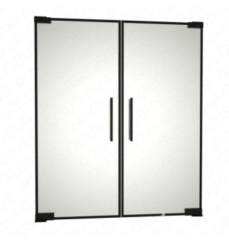 Drzwi szklane dwuskrzydłowe wahadłowe LOFT z ramką mocowane GÓRA/DÓŁ bez wkuwania ! (na wymiar)