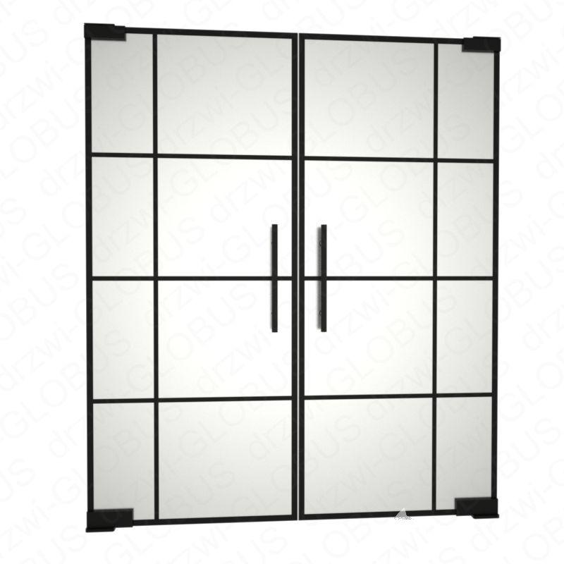 Drzwi szklane dwuskrzydłowe wahadłowe LOFT z ramką i szprosami mocowane GÓRA/DÓŁ bez wkuwania ! (na wymiar)