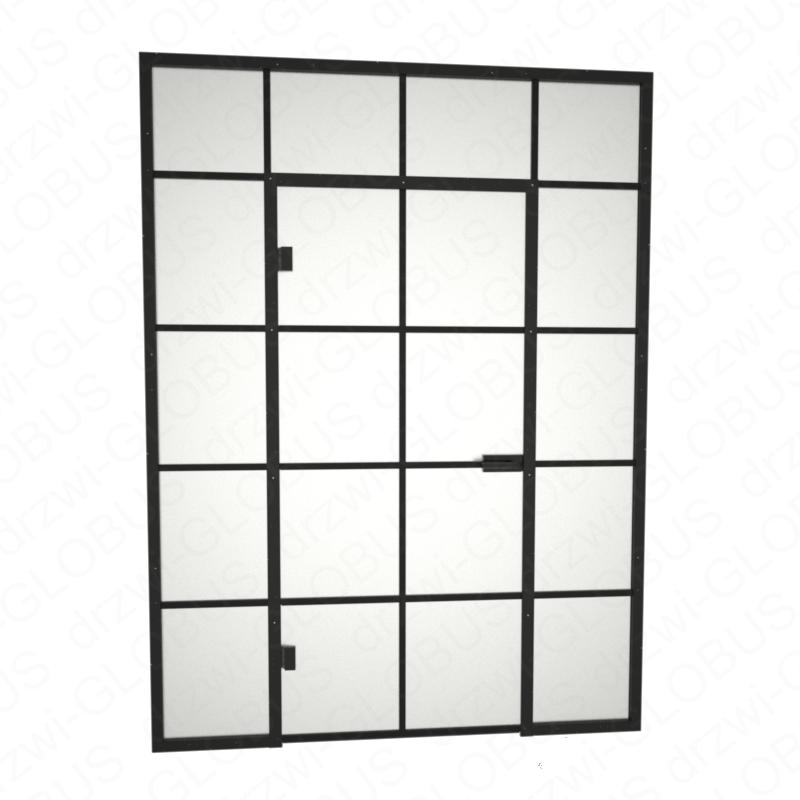 Zabudowa szklana LOFT z drzwiami otwieranymi + szprosy (na wymiar)