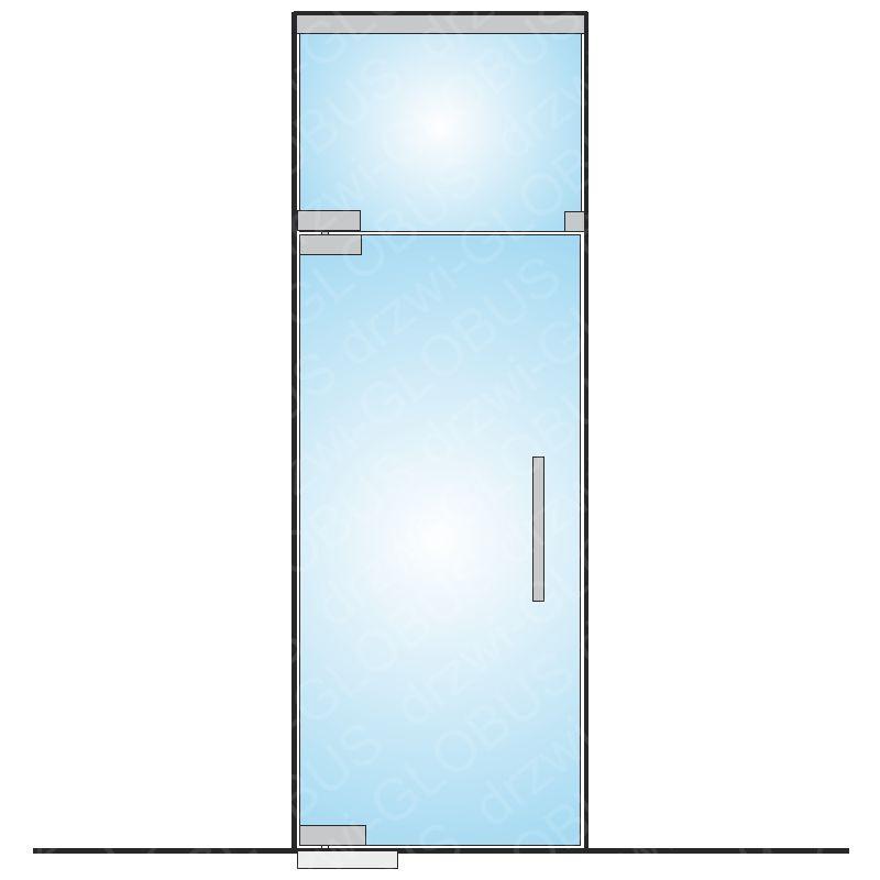 Drzwi szklane wahadłowe mocowane GÓRA/DÓŁ + górny świetlik (na wymiar)