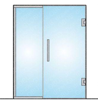 Drzwi szklane wahadłowe mocowane do ściany + doświetle (na wymiar)
