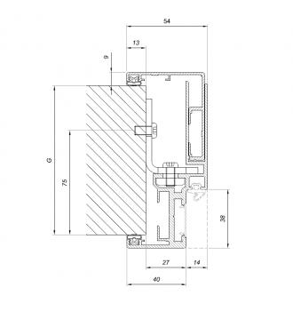 Futryna / ościeżnica regulowana ALUMINIOWA do drzwi szklanych