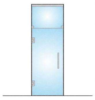 Drzwi szklane wahadłowe mocowane do ściany + górny świetlik (na wymiar)