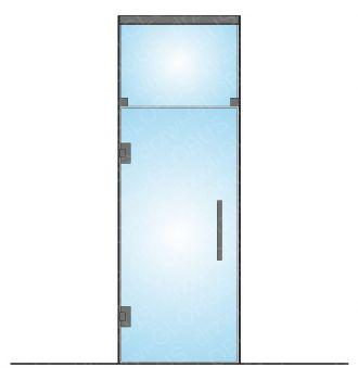 Drzwi szklane wahadłowe mocowane do ściany LOFT + górny świetlik (na wymiar)