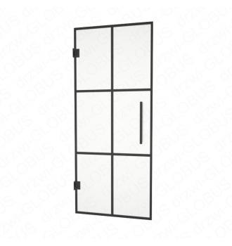 Drzwi szklane wahadłowe LOFT mocowane do ściany + szprosy (na wymiar)