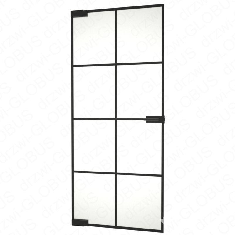 Drzwi szklane bez ościeżnicy LOFT + ramka + szprosy - mocowane GÓRA DÓŁ (na wymiar)