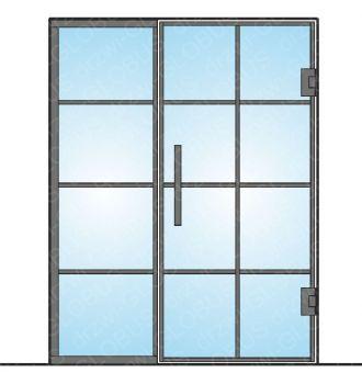 Drzwi szklane wahadłowe mocowane do ściany LOFT (ramka i szprosy) + doświetle (na wymiar)