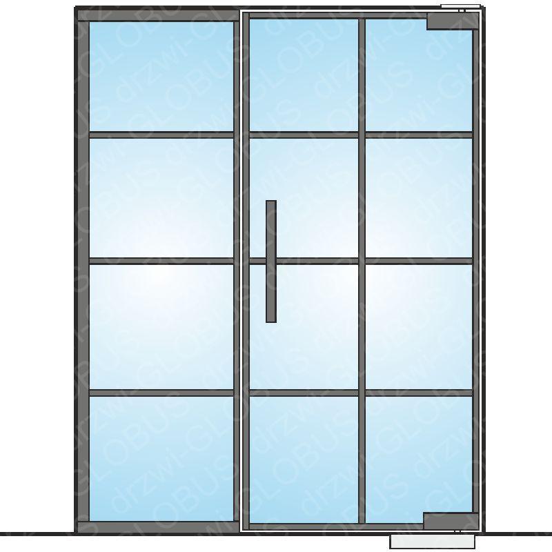 Drzwi szklane wahadłowe mocowane GÓRA/DÓŁ LOFT (ramka + szprosy)+ doświetle boczne (na wymiar)